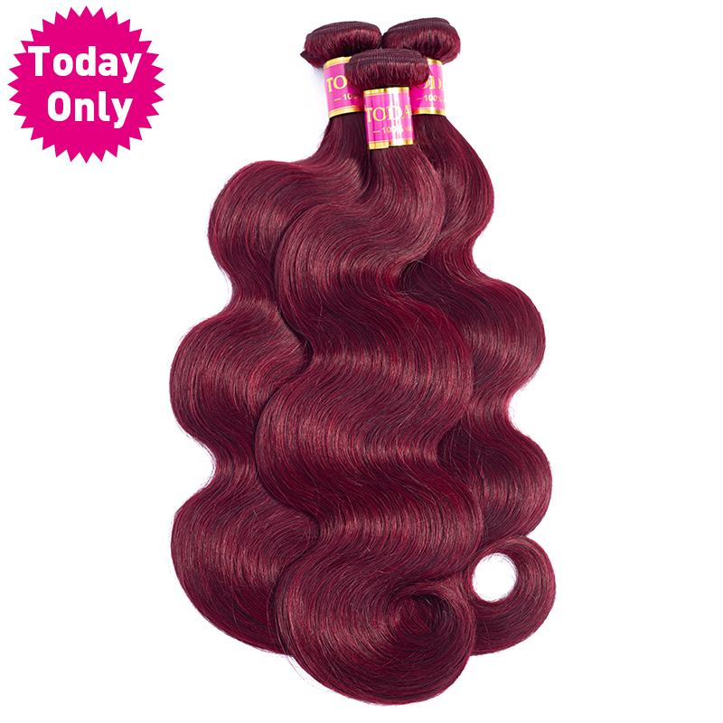 TODAY ONLY Peruvian Hair Bundles Body Wave Bundles Burgundy 99J Red Wine Human Hair Extensions Remy