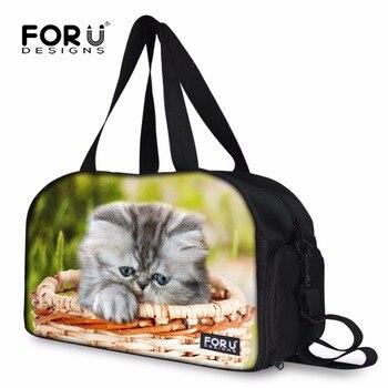 Оригинальный дизайн сумка для багажа для женщин милый котенок котик Печать Путешествия Вещевой спортивные сумки большой емкости Tote Сумки