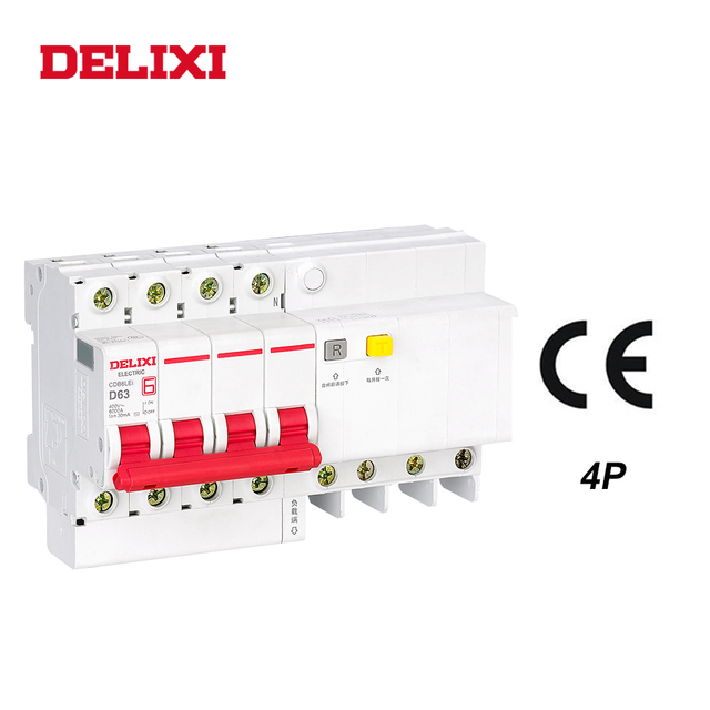 DELIXI CDB6iLE 4P 400V 10A 16A 32A 63A Residual current Mini Circuit breaker Overload Short Leakage protection C type curve RCBO