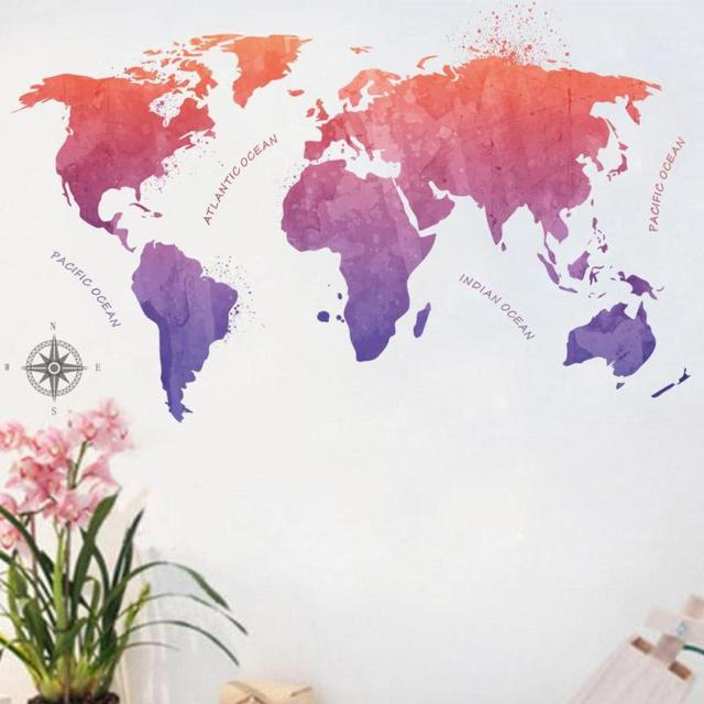 Big global planet world map wall sticker removable world map vinyl big global planet world map wall sticker removable world map vinyl decals wallpaper home living room gumiabroncs Image collections
