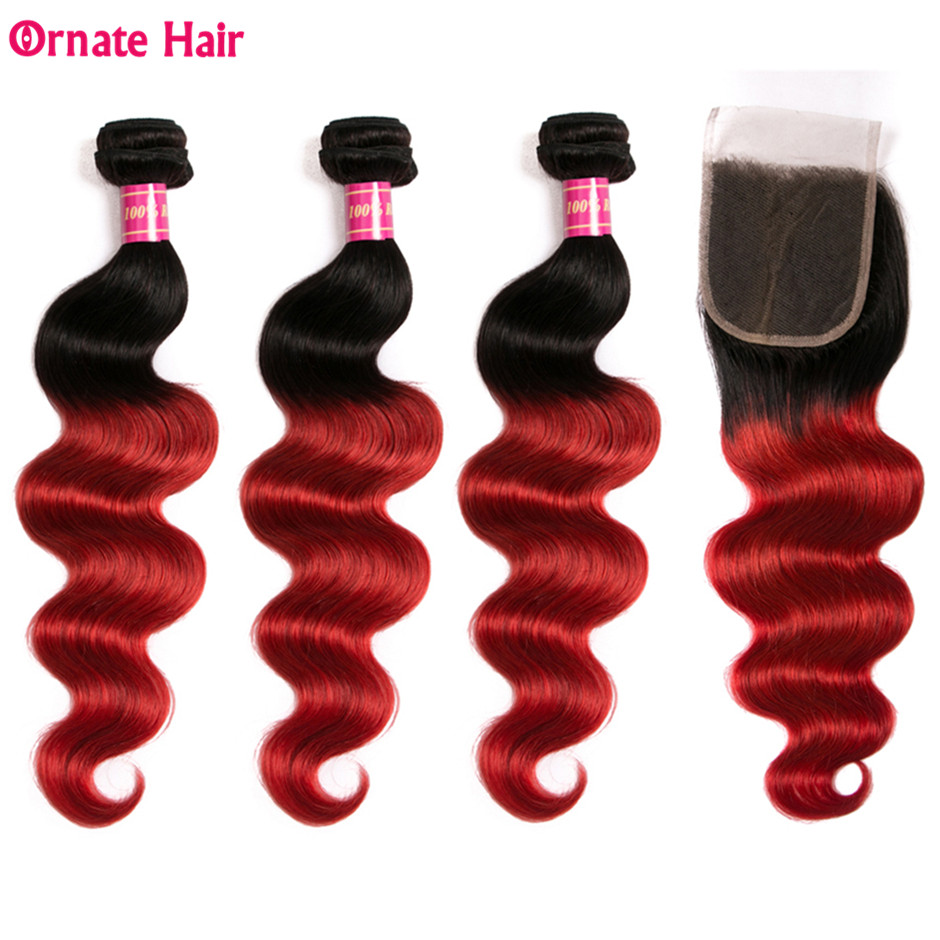 Brazilian Body Wave Ombre Hair Bundles With Closure T1B/Red 3 Bundles With Closure Non Remy Human Hair Extension-in 3/4 Bundles with Closure from Hair Extensions & Wigs    1