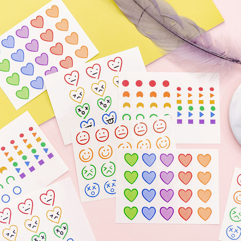 4Sheets Cute Smiley Face Stickers Heart Adhesive Sticker Kawaii Stationery Stickers For Kids DIY Decor Scrapbooking Diary Albums