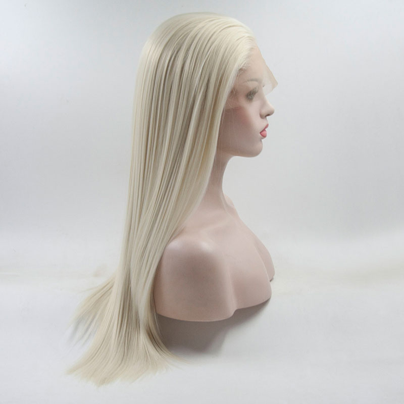 Bombshell Top Quality Natural Straight White Platinum Blonde Princess Synthetic Lace Front Wig With Baby Hair