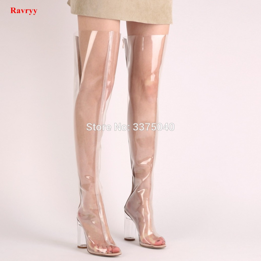 Ravryy summer autumn fashion pvc clear rainboots pointed toe crystal high heels over the knee boots transparent shoes for woman цена