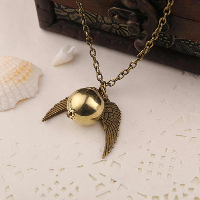 Feather Angel wings Necklaces Geometric round Gold Snitch Harry Time Turner Vintage Men movie Pendant  Necklace jewelry