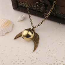 Feather Angel wings Necklaces Geometric round Gold Snitch Harry Time Turner Potter Vintage Men movie Pendant  Necklace jewelry chic harry potter da book scroll shape pendant necklace