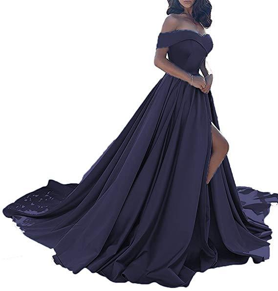 Vestido longo, сексуальные вечерние платья с разрезом, с открытыми плечами, платье для выпускного вечера,, официальное вечернее платье, Vestido De Noiva - Цвет: Navy Blue