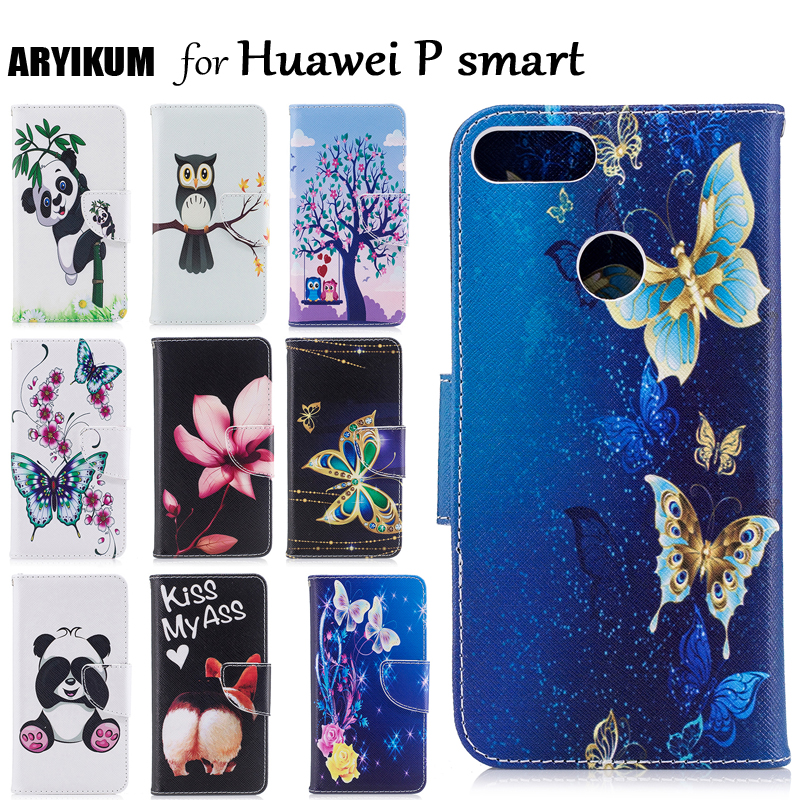 Phone Case For Huawei <font><b>P</b></font> <font><b>Smart</b></font> Dual SIM Case For Huawei FIG LX1 LA1 Cartoon Flowers Leather Wallet Cover Case For Huawei <font><b>P</b></font> <font><b>Smart</b></font> image