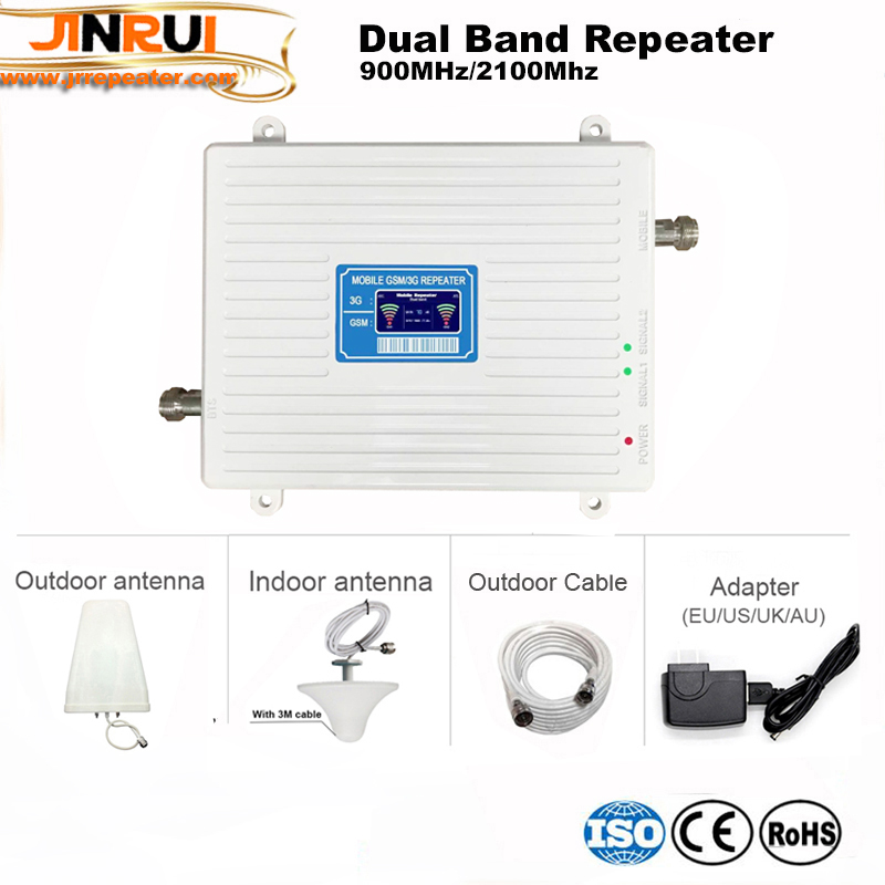 High quality cellphone dual band 900 2100 signal repeater booster mobile phone 2g 3g cellular signal