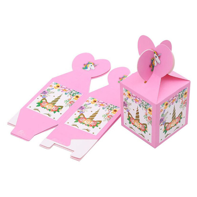6Pcs/lot Pink Unicorn Theme Girl's Birthday Candy Box Birthday Party Decorations Kid Candy Bags Event Party Supplies Favor
