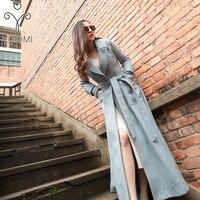 2018 Autumn Winter Maxi Elegant Wool Long Women Coat Women Plus Size Long Coat Famale S XXL Coats and Jackets Female Blue Caot