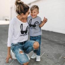 Cute Rabbit Printed Mom and Kid Matching T-Shirt