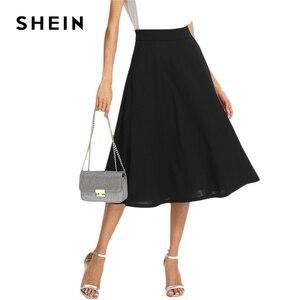 Image 5 - שיין שחור אלגנטי סלנט כיס צד מעגל אמצע מותניים ארוך חצאית קיץ נשים משרד ליידי Workwear מוצק חצאיות