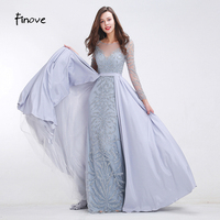 Finove Heavy Beading Prom Dresses 2017 New Styles See Through Tulle Mermaid A Line Floor Length
