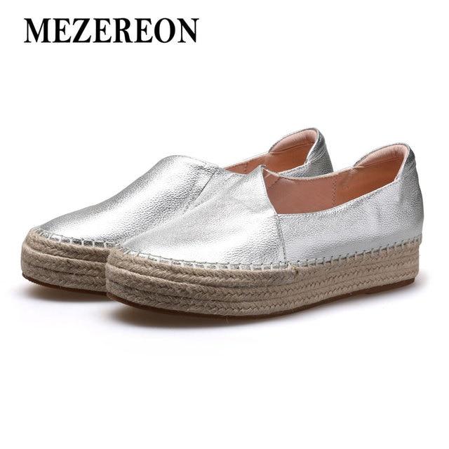 93d722d9e3bb MEZEREON Chaussures Femme En Cuir Véritable Femmes Appartements Glissent  Sur La Plate-Forme Mocassins Femme