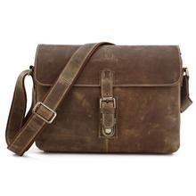 Vintage 100% Guaranteed Crazy Horse Genuine Leather Men Messenger Bags Brown Color Men Bag Natural Cowskin Shoulder Bag #MDJ7084