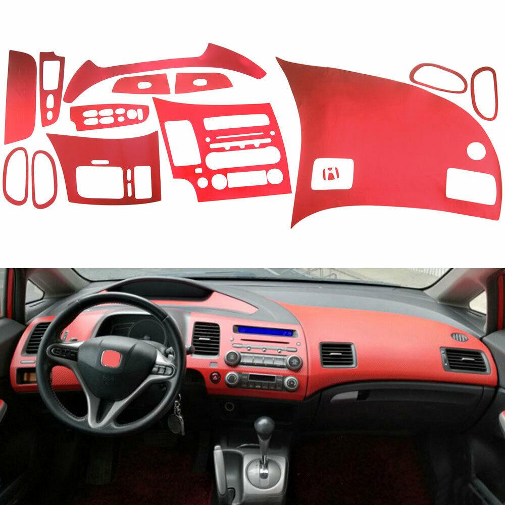 1 Set Red/Purple Car Interior Console Dashboard Air Vent Panel Decorative Sticker Decal Cover Trim For Honda Civic 8th 2006-2011
