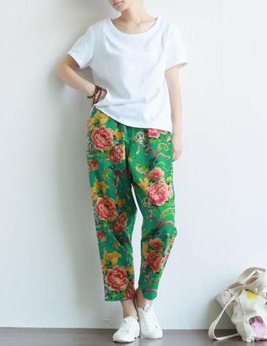Новинки для женщин летние штаны-шаровары штаны с цветочным принтом Повседневное китайский Национальный хлопковые льняные брюки с рисунком в виде пионов, эластичные Капри по талии - Цвет: Зеленый