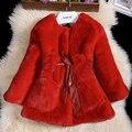 Das crianças 2016 nova imitação de pele de coelho no parágrafo longo casaco de pele casaco de pele das crianças.
