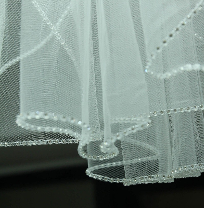 Image 2 - Champagne White Ivory Wedding Accessory Cathedral Crystal Edge Wedding Veil Custom Made Length 1 T Bridal Veil With Metal Comb-in Bridal Veils from Weddings & Events