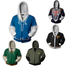 купить The Legend Of Zelda Game Skyward Sword Link Hooded Zipper Jacket for men women Halloween Cosplay Costume Set Fighting Sweater дешево