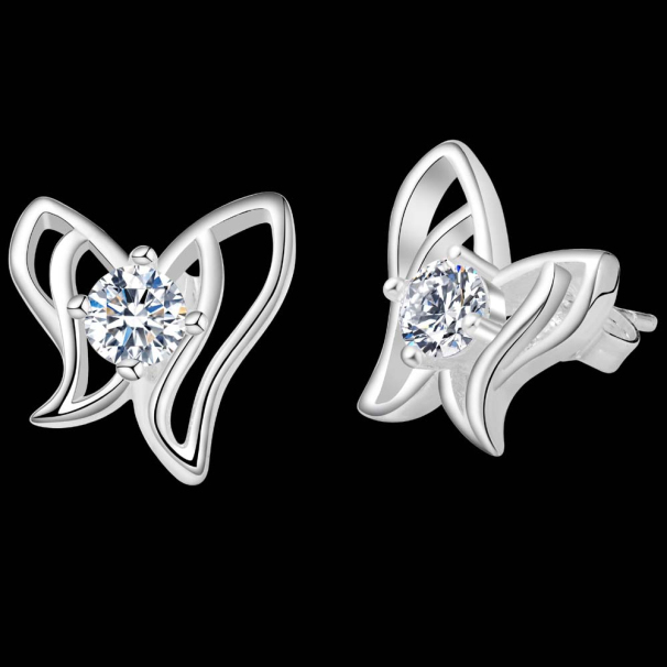2017 Designer Elegent Party Earrings Australian Crystals Women 925 Silver Stud Fashion Erfly
