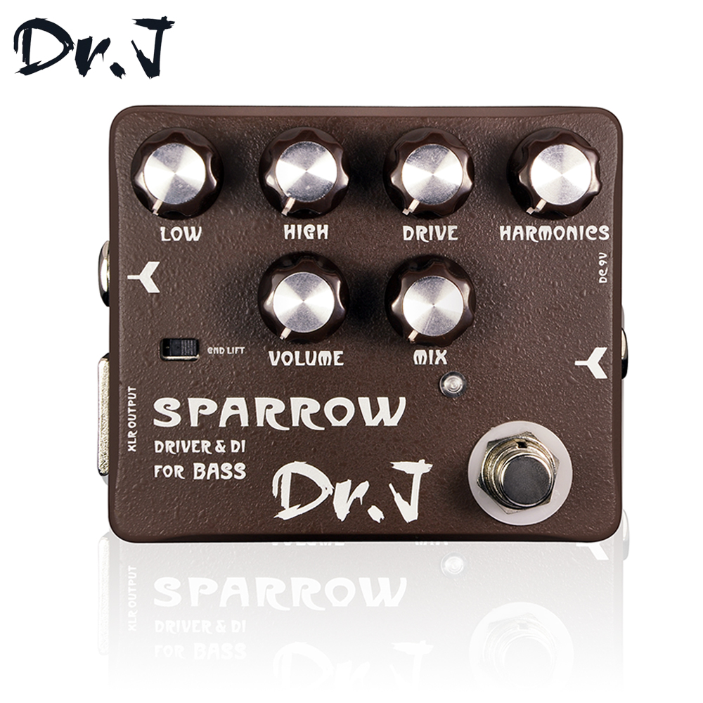 Dr.J D53 Stompbox Sparrow Driver& DI Bass Guitar Effect Pedal True Bypass Guitar Accessory Musicial Instrument dr j sparrow driver
