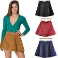 Nova Moda 2016 das mulheres Elegante cintura Alta do formulário-encaixe Fechado Círculo De Veludo Casuais Mini Saias 4 cores PS0342