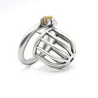 Men Short Stainless Steel Male Cages Virginity Lock Chastity Belt Penis Ring Penis Lock Cock Ring Chastity Device Cock Locks