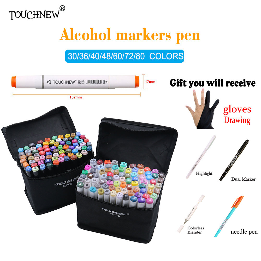 TOUCHNEW 168 Colors Artist Dual Headed Marker Set Animation Manga Design School Drawing Sketch Marker Pen Art Supplies caneta touchnew 80 colors artist dual headed marker set animation manga design school drawing sketch marker pen black body