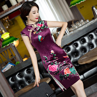 TIC TEC Chinese Traditional Dress Women Cheongsam Short Qipao Vintage Velvet Slim Elegant Oriental Dresses Wedding