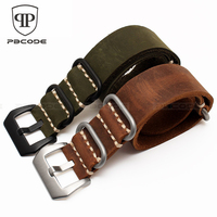 1pc Genuine Leather Watch Straps Crazy Horse Watchband Nato Zulu Watch Strap Band 22mm 24mm With