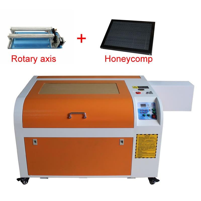 6040 CO2 de grabado láser de metal máquina de sello 60 W Actualización de 3040 tubo láser de corte por láser con eje giratorio y de nido de abeja