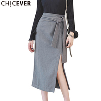 CHICEVER Autumn Split Bandage Women's Midi Skirt High Waist Bow Loose Big Size Black Elegant Asymmetry Female Skirts Fashion New