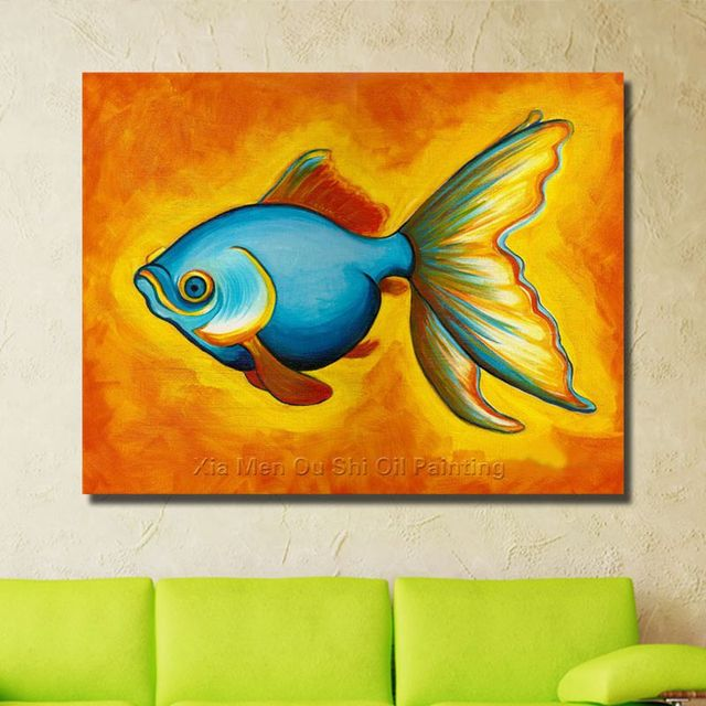 Free Shipping Modern Hand painted Blue Fish Oil Painting On Canvas ...