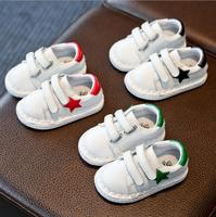 Children S Shoes 2018 Spring And Autumn Plush Waterproof Leather Boys And Girls Leisure Sports White