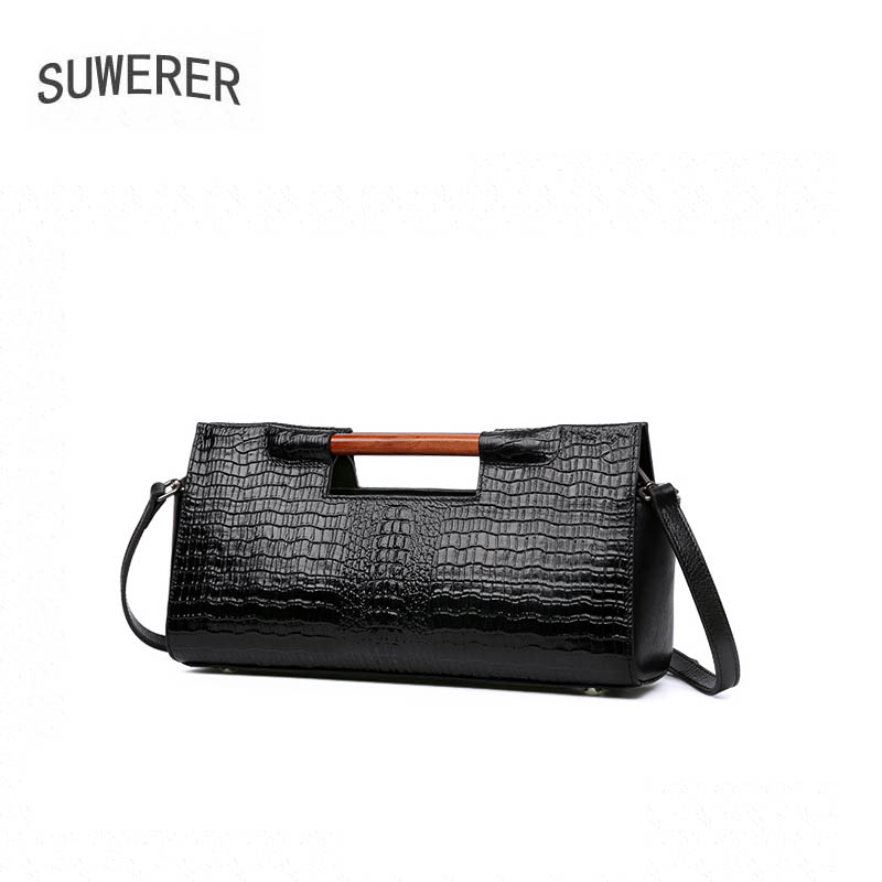 SUWERER 2018 New women bag genuine leather brands Crocodile pattern fashion top cowhide tote women handbags leather shoulder bag 2018 new women bag genuine leather brands top quality cowhide chinese style embossed women handbags fashion leather tote bag