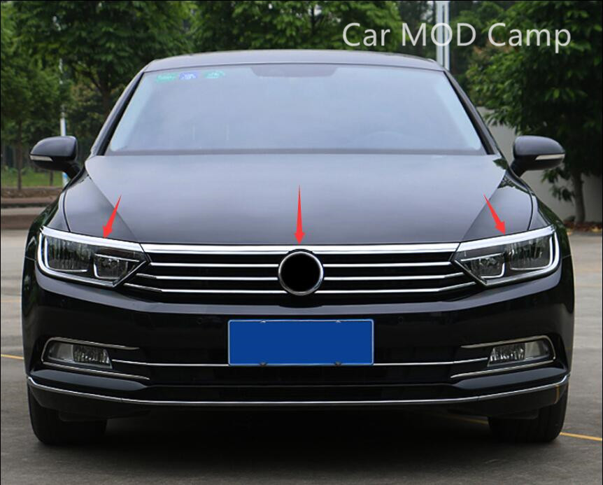 For Volkswagen Passat B8 2017 2018 Stainless Steel Front Fog Light Eyebrow Trim & Upper Grille Cover Trim 3pcs Car accessories! цена