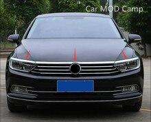 ل Volkswagen باسات B8 2017 2018 (فقط صالح الأوروبي نموذج المقاوم للصدأ الجبهة الضباب ضوء الحاجب تقليم و العلوي غطاء مصبغة تقليم 3 قطعة