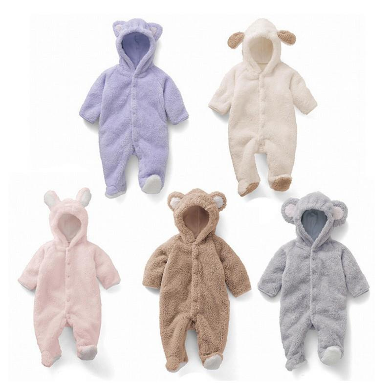 Autumn Winter Baby Rompers 2017 New Animal Style Newborn Baby Boys Girls Clothes Coral Fleece Long Sleeve Infant Jumpsuits baby clothing infant baby kid cotton cartoon long sleeve winter rompers boys girls animal coverall jumpsuits baby wear clothes