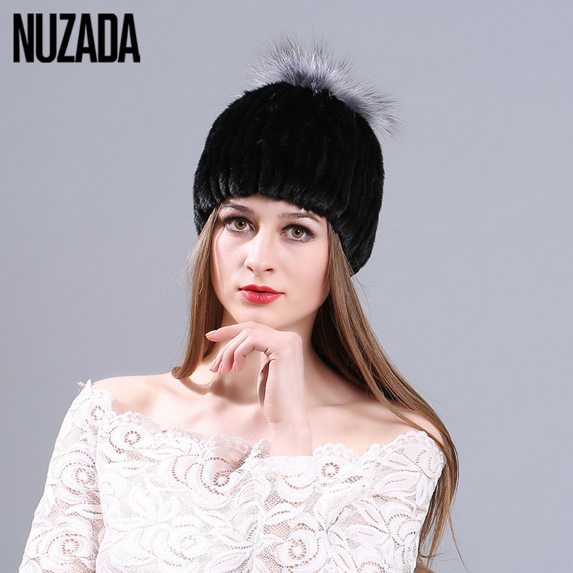 Brand NUZADA Skullies Beanies Real Mink Fox Fur Hat Cap Winter Autumn Luxury Quality Women Lady Girl Knit knitted Caps Bonnet skullies