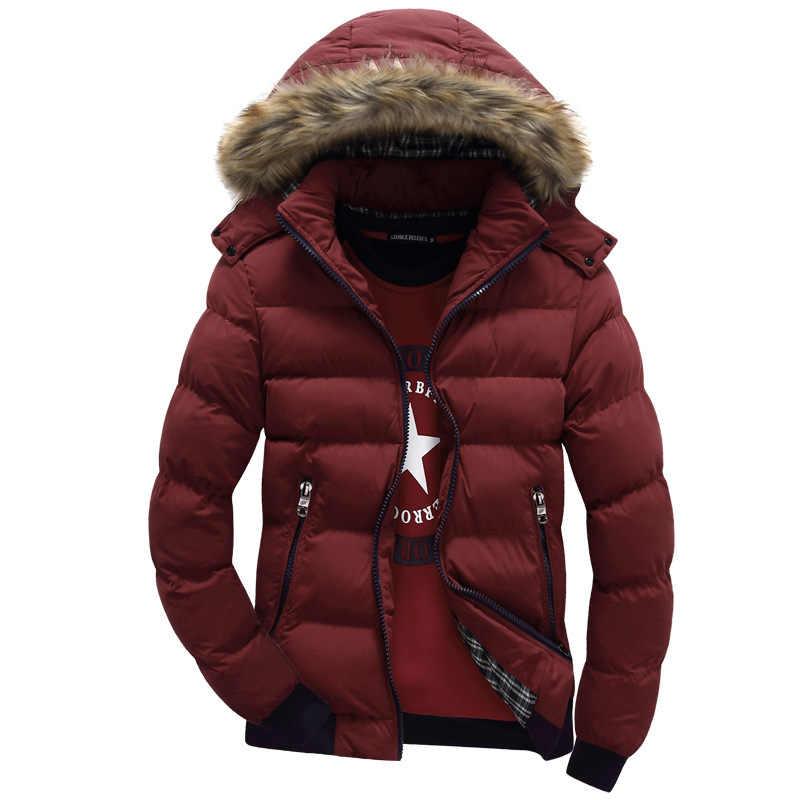 2018 9 色ファッションブランドの冬のメンズダウンジャケット毛皮フード帽子スリム男性はコートカジュアル厚いメンズダウンジャケット 4XL