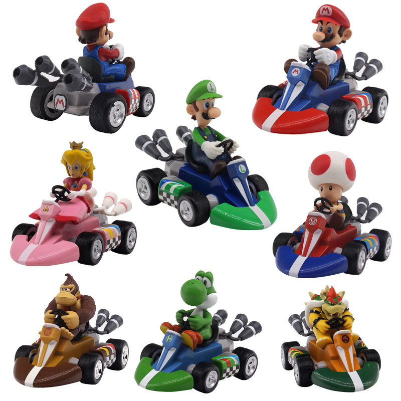 7 Styles Super Mario Bros. Mario Pull Back Kart Racer Car Donkey Kong Luigi Yoshi Toad Princess Action Figures Toy for Kids Gift
