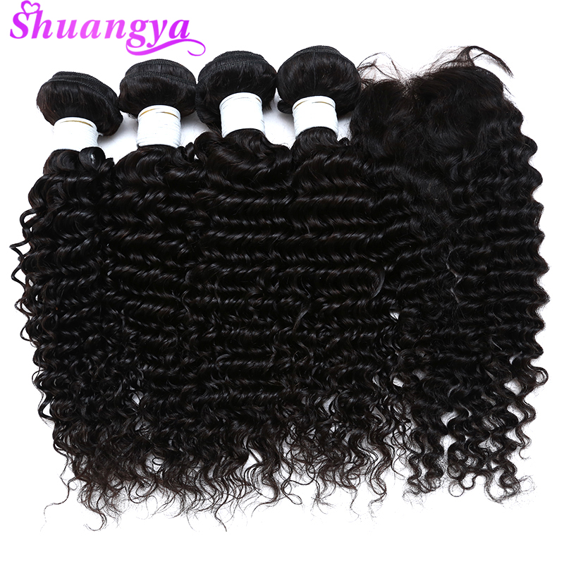 Brazilian Hair Weave Bundles With Closure Deep Wave Bundles With Closure Free Middle Virgin Human Hair