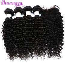 Brazilian Hair Weave Bundles With Closure Deep Wave Bundles With Closure Free/Middle Virgin Human Hair Bundles With Closure