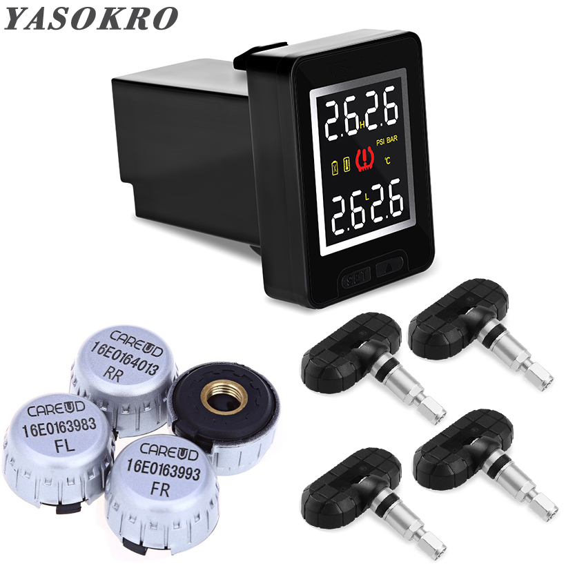 YASOKRO Car TPMS Tire Pressure Monitor System Wireless TPMS Sensor Monitorring With 4 External Internal Sensor For Toyota/Honda цена
