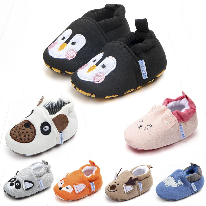 New Baby Cute Cartoon Shoes Boys Girls Lovely Penguin Fox First Walkers Non-Slip Sole Infants Newborn Gifts Kids Children Shoes
