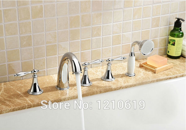 Newly US Free Shipping Modern Chrome Finish 5pcs Bathroom Tub Faucet Mixer Tap W/ Ceramics Handheld Shower Deck Mounted new arrival contemporary chrome finish bathroom tub faucet set w abs handheld shower 3pcs mixer tap bathtub faucet deck mounted