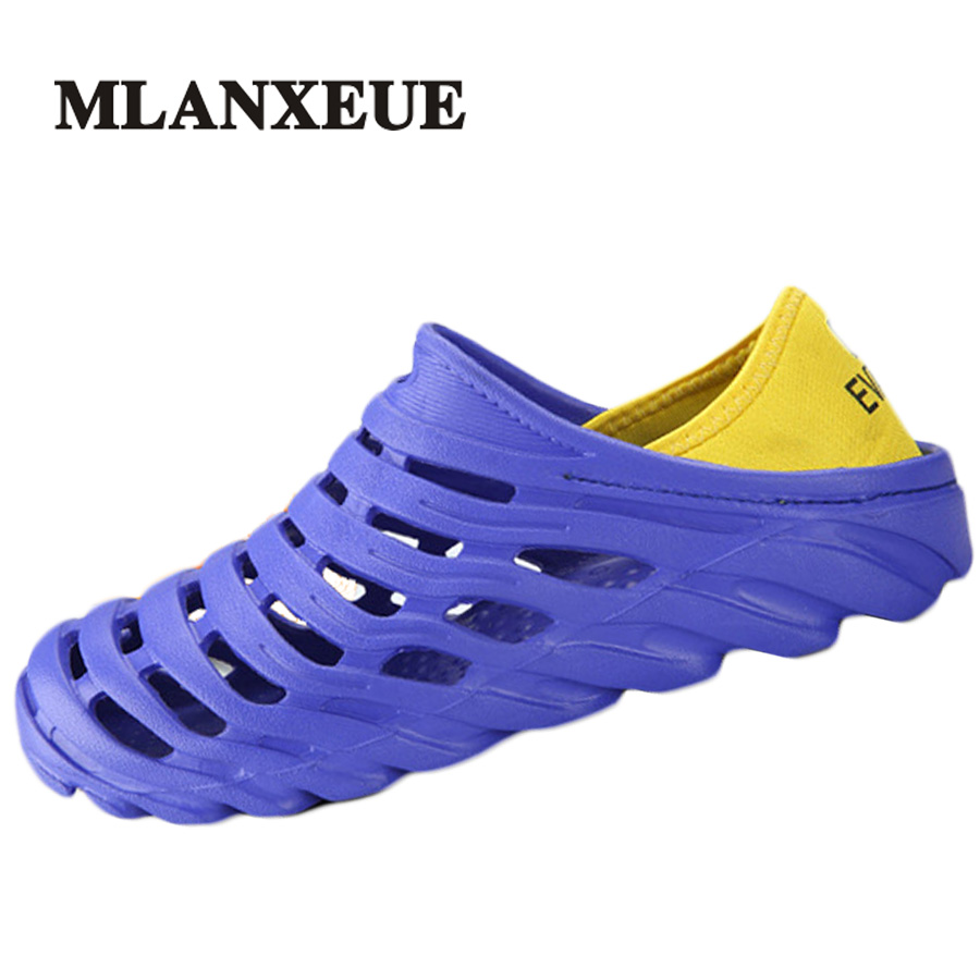 Mlanxeue 2018 Sandals Summer Men Shoes Fashion Hollow Out Breathable Beach Casual Designer Male Shoe Size 40-45 Sandalias Hombre boys girls antislip usb sandals summer cut out comfortable flats beach sandals kids children breathable led shoes with light