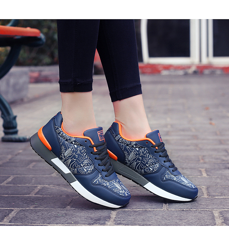 2017 Spring Graffiti Valentine Shoes Women Flat Heel Lace Up Leather Casual Shoes Plush Size 44 Low Top Sport Outdoor Shoes ZD43 (69)